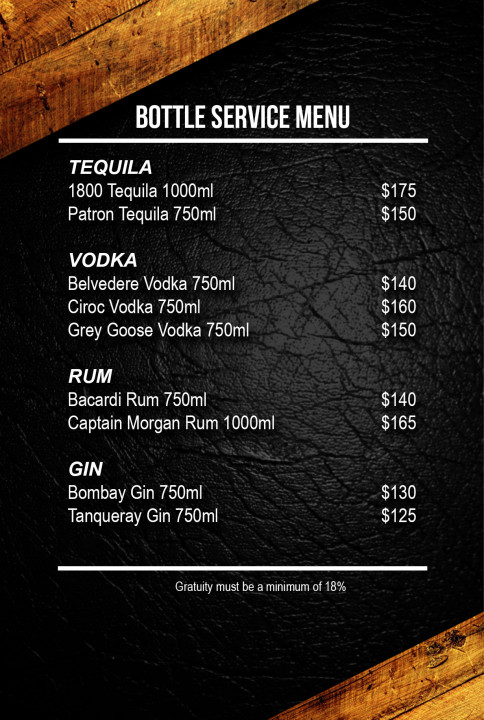 Bottle Service Menu